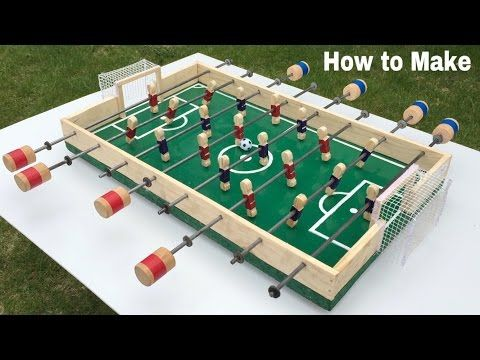How To Make A Table Football At Home Foosball Mini Soccer Table Easy To Build Youtube Soccer Table Table Football Make A Table