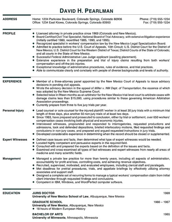 Curriculum Vitae Sample Lawyer