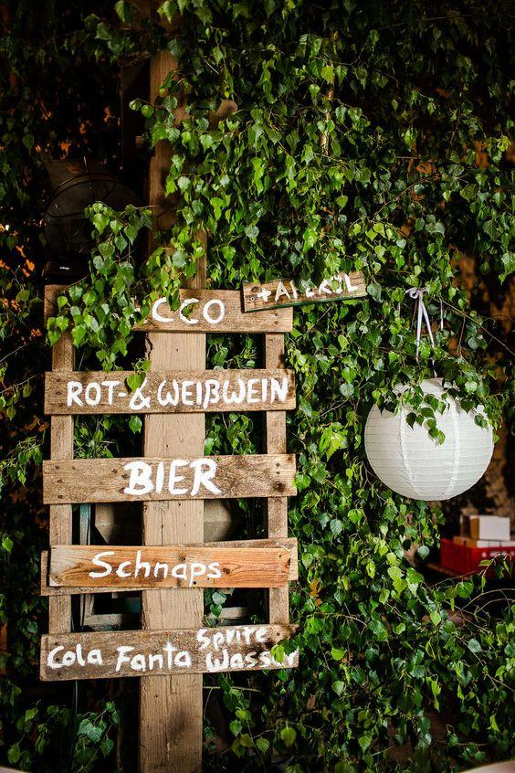 Hochzeit DIY - Getränke Schild selbermachen - Paletten - Bar ...