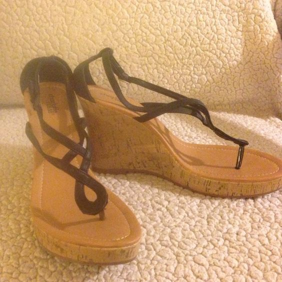 Charlotte Russe wedge sandals Black strappy wedge sandals Charlotte Russe Shoes Sandals