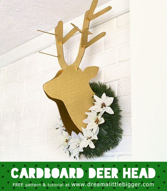 Make a life-size cardboard deer head to put on your wall! Tutorial and Free Pattern.