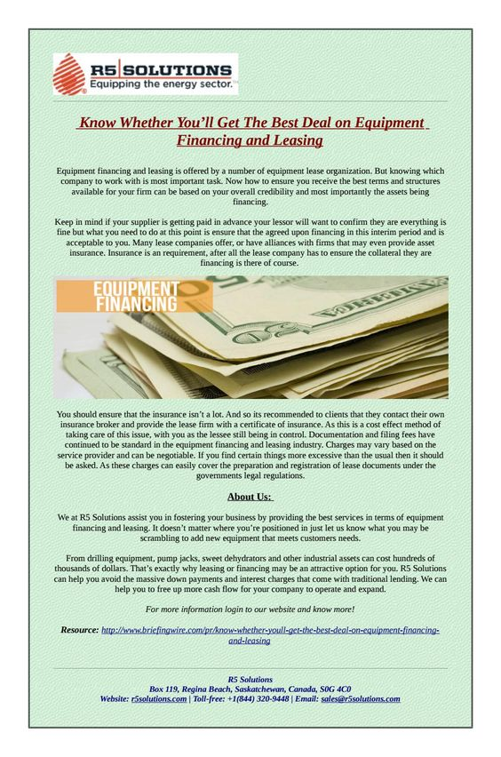 Heavy Equipment Financing \ Leasing For Oilfield Services - equipment lease form