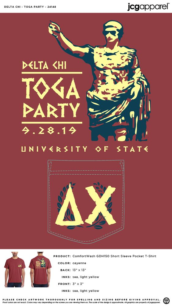 Delta Chi Toga Party Shirt Fraternity Toga Party Greek Toga Party Deltachi Dx Toga Party Fraternity Shirt Design Delta Chi Frat Parties
