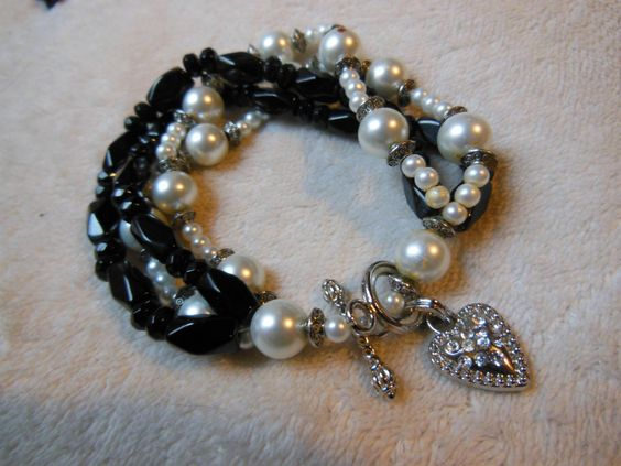 Black Bracelet with Pearl Accents and Heart Toggle Clasp by handmadejewelrybypam on Etsy