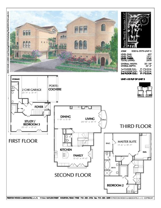 Townhome Plan D3016 U3 Architecture And House Plans