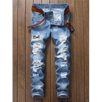 Mens Destroyed Hole Distressed Zipper Fly Nine Minutes Of Jeans Denim Blue Pants