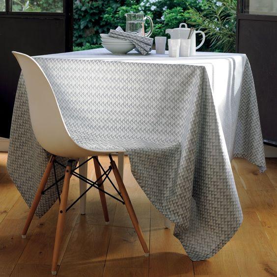 Nappe style scandinave Garnier-Thiebaut - Modèle : Reflection - Nappe en coton anti-tâche - Coloris : métal