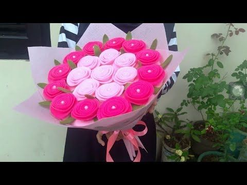 Youtube Felt Flower Tutorial Felt Flowers Diy Felt Flower Bouquet