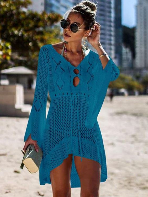 Flared Sleeves Crochet Swimwear Cover-ups – chicboho