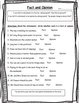 Fact And Opinion Worksheets 2Nd Grade