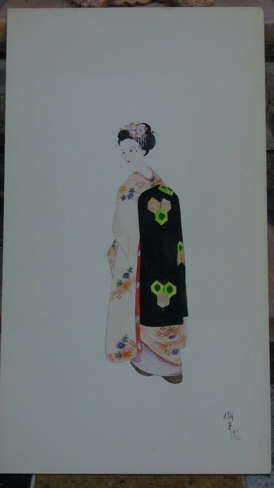 Antique Japanese Watercolor On Paper 034 Beauty Girl 034 Artist