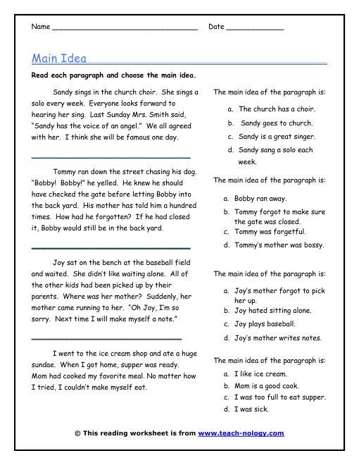 idea worksheets 3rd grade 100 images 3rd grade idea – Main Idea Worksheets High School