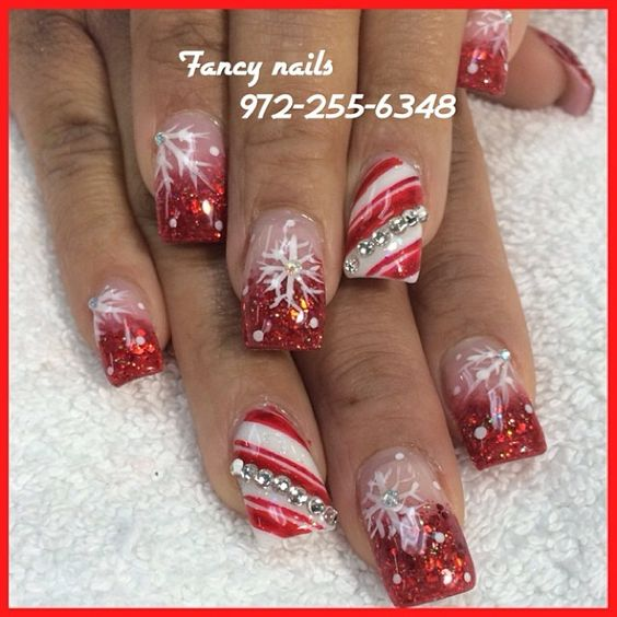 Christmas Nails Acrylic Long: Acrylics, Ombre And Nailart On Pinterest