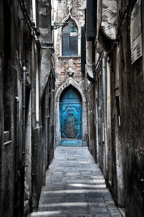 The Beautiful Blue Door in Venice, Italy