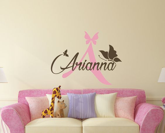 Aa206 etiquetas para chicas nombre monograma vinilo for Vinilo habitacion chica