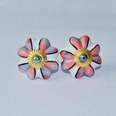 $3.96 Floral Printed Ceramic Knobs, Set of 2