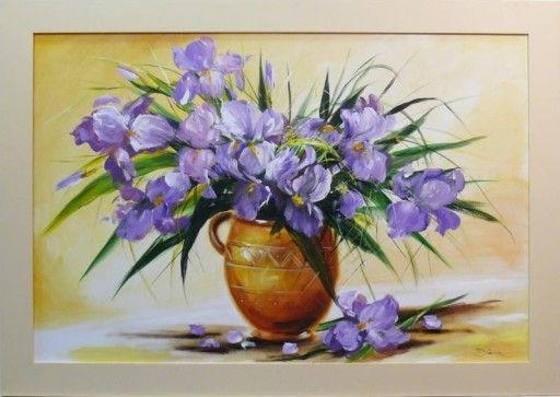 Obraz Kwiaty Irysy Bukiet Kwiatow Irysow W Wazonie Painting Art Inspiration