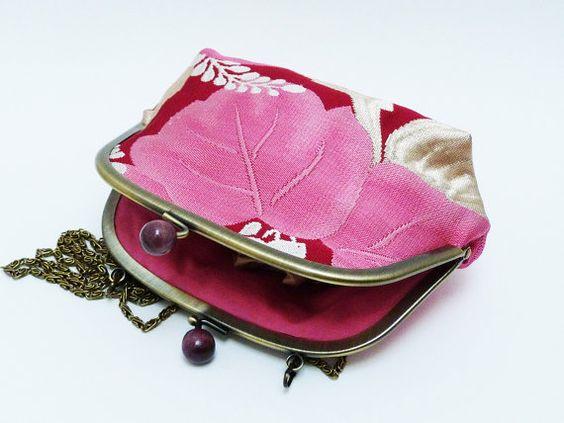 Small pink woven obi fabric handbag by cheekyleopard on Etsy
