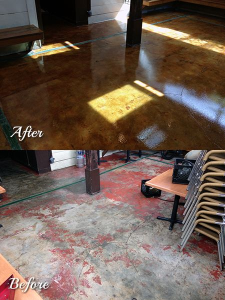 Beautiful stained concrete floors in an outdoor patio in San Francisco. Floors sealed with Creto DPS and Legacy Industrial Polyaspartic coating.