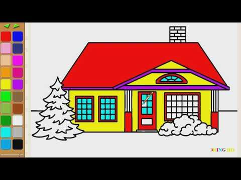 How To Draw Big House Coloring Page For Kids I Learn Coloring Book With House Drawing For Kids Coloring Pages For Kids Coloring Books