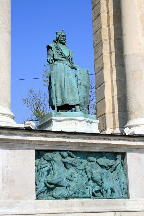Heroes Square Budapest | File:Budapest Heroes square Károly Robert.jpg - Wikipedia, the free ...