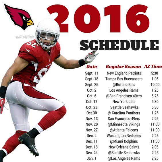 Arizona Cardinals 2016 Season schedule with Tyrann Mathieu, Honey Badger. #BirdGang #AZLadyBirds https://www.facebook.com/AZLadyBirds/ Are you ready for some football? NFL