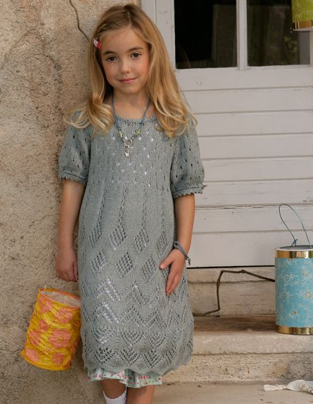 Verena Knitting Magazine – girl knit dress colorwork lace stripes ...