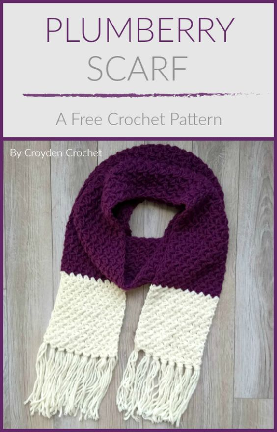 Crochet this gorgeous beginner Plumberry Scarf pattern using Lion Brand Woolspun yarn! A free pattern by #Croydencrochet #plumberryscarf #crochetpattern #crochetscarf