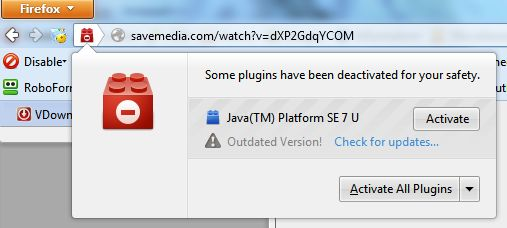Outdated plugin as seen in Firefox some plugins have been deactivated for your safety