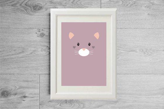 Affiche chat mignon imprimée - Affiche violette - Affiche chambre enfant - Affiche nurserie - Poster enfant - Affiche nurserie - Baby shower