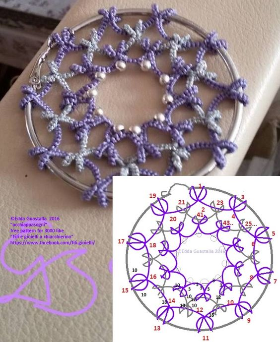 """schema """"acchiappasogni con curled rings""""  in regalo per 3000 like sulla pagina """"fili e gioielli a chiacchierino"""" https://www.facebook.com/fili.gioielli/"""