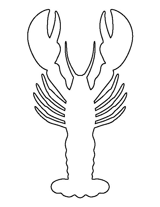 Lobster pattern. Use the printable outline for crafts, creating stencils, scrapbooking, and more. Free PDF template to download and print at http://patternuniverse.com/download/lobster-pattern/: