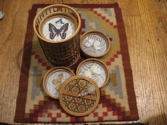 1960's Bambo Butterfly Coaster Set by SKLJewelryandMore on Etsy