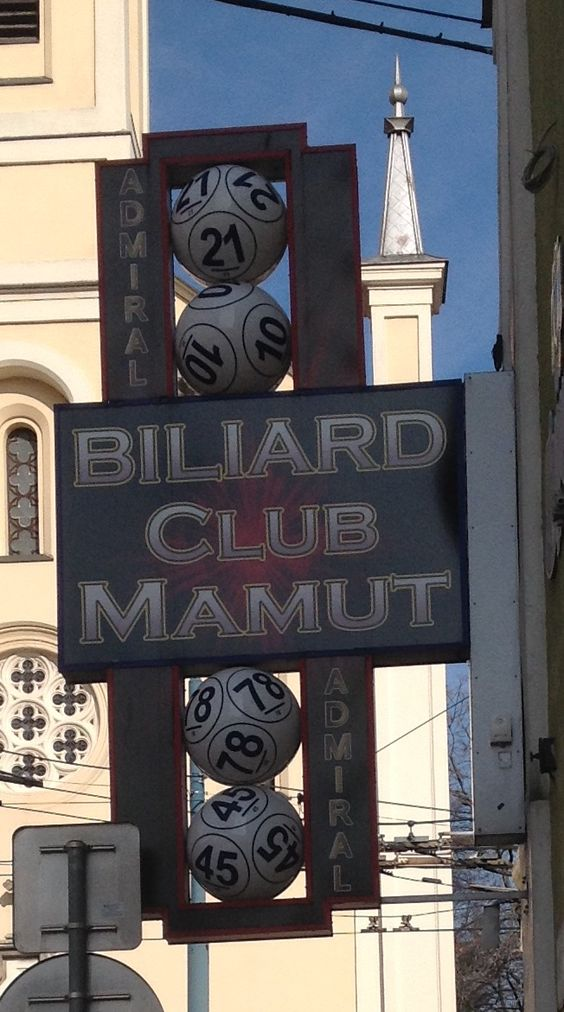 Sign for billiard game, Slovakia