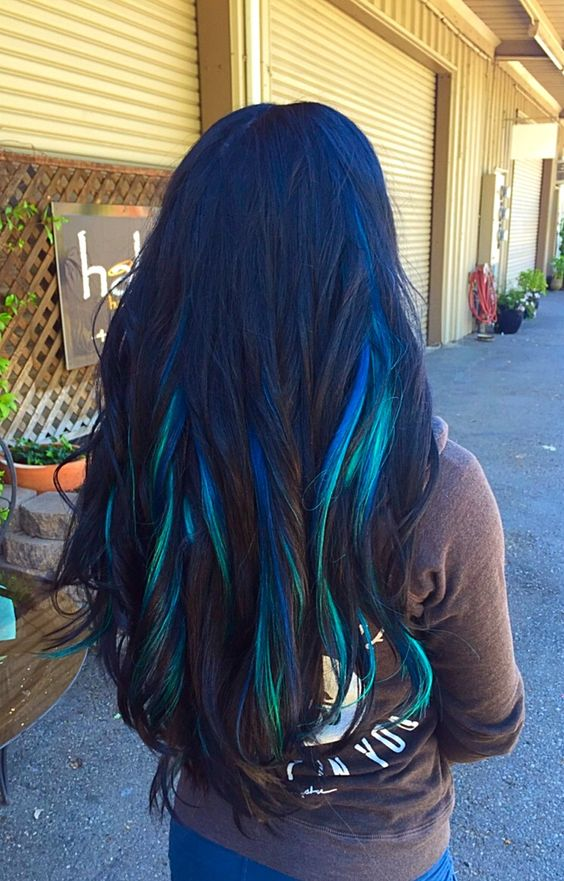 Black hair with blue and teal highlights #TheBeautyAddict