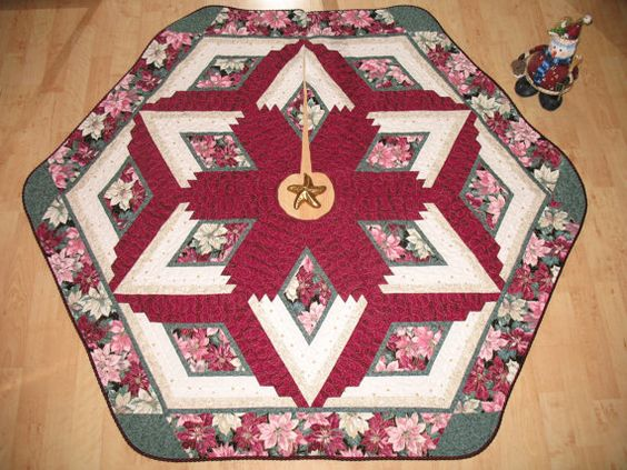 Christmas Tree Skirt Quilt    Burgundy Poinsettia  by QuiltinWaYnE, $129.00