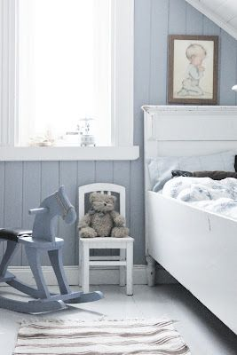 With a slate blue wall color + white wood . R C B . Pinterest ...