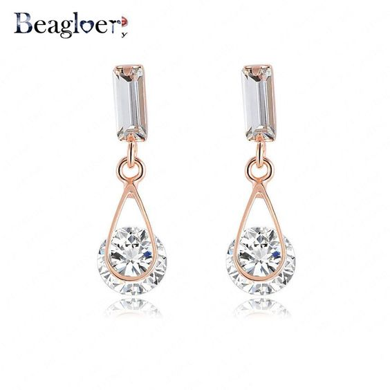 Beagloer Christmas Gift Ring Earrings Clear Stone Austrian Crystal Rose Gold Plate Earring Fashion Jewelry CER0215-A