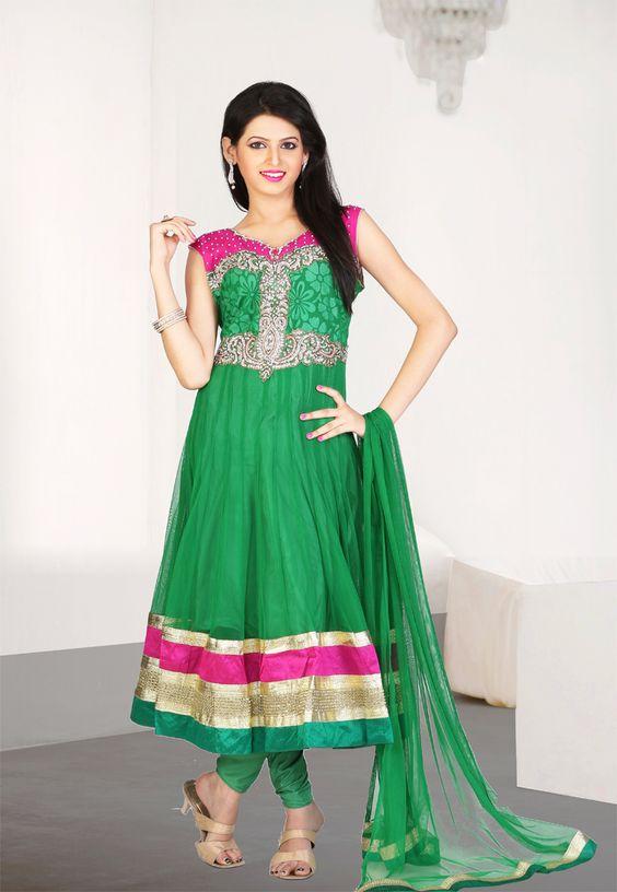 Green Color Net-Brasso Designer Anarkali Suit