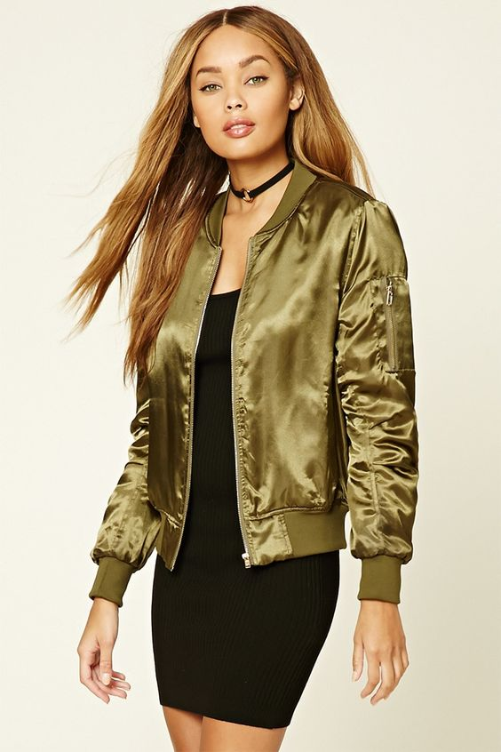 Satin Bomber Jacket: