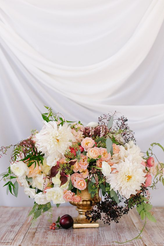 Romantic Peach and Plum Fall Wedding Inspiration by Annabella Charles and Haute Horticulture