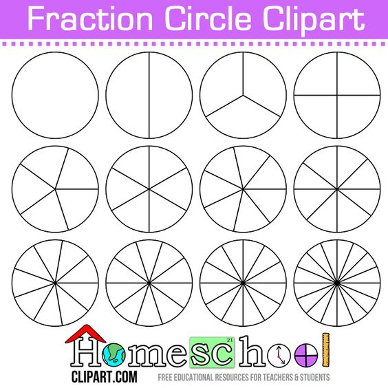 Free Fraction Circle Clipart Use these to make your own set of – Fraction Circle Worksheets