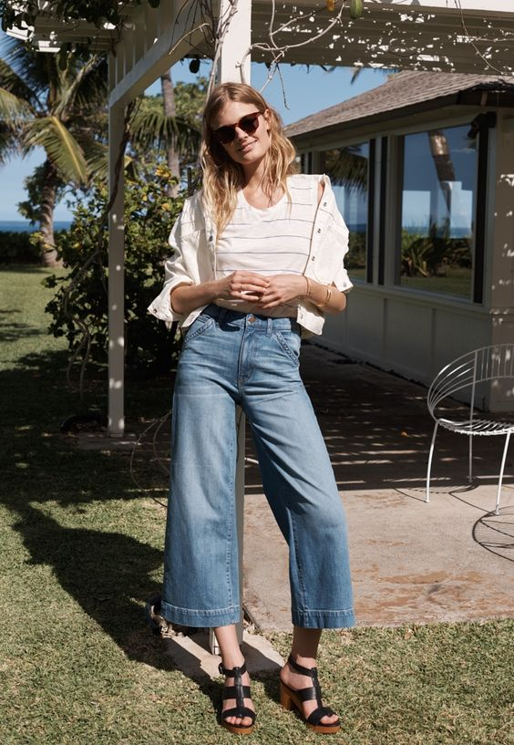 Constance Jablonski wears Whisper Cotton Tank, Calaveras Jean Jacket and Wide-Leg Crop Jeans for Madewell summer 2016 lookbook in Hawaii