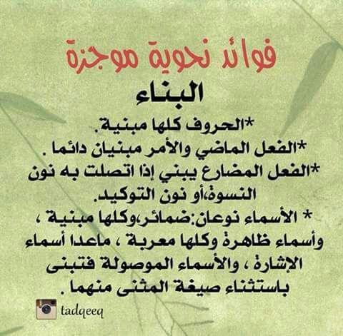 الأصل فى الحروف والأفعال البناء والأصل فى الأسماء الإعراب Arabische Sprache Sprache Arabisch