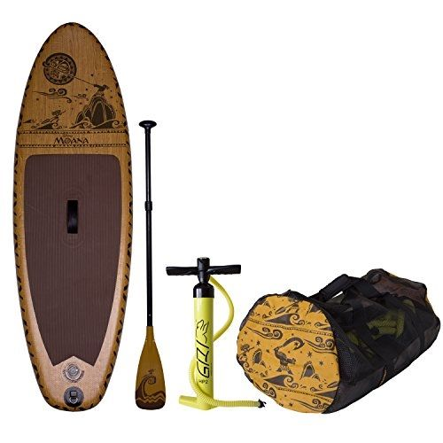 C4 Waterman Disney Moana Inflatable Stand Up Paddle Board Set Woodgrain Brown One Size Standup Paddle Inflatable Paddle Board Inflatable Canoe