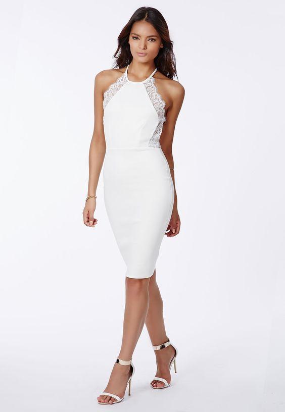 Missguided - Juliet Scuba Lace Trim Midi Dress White