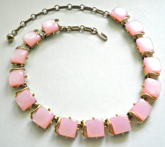 Vintage PINK LUCITE Moonglow Chiclets Necklace by JoolsForYou, $15.00