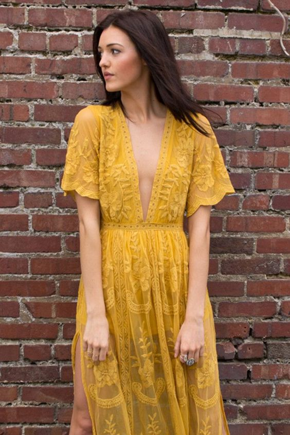 Chloe Yellow Lace Maxi Dress - Savoir-Faire | Women's Clothing Boutique