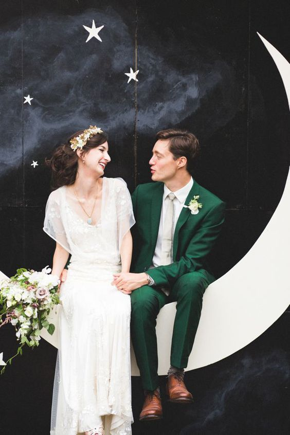 Dress your dapper groom in an emerald green suit! This color isn't just for your bridesmaids :)   http://www.weddingpartyapp.com/blog/2014/09/30/fall-groom-and-groomsmen-style-ideas/