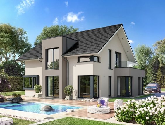 Fertighaus satteldach  Pinterest'teki 25'den fazla en iyi Einfamilienhaus bauen fikri ...